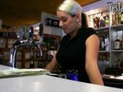Busty blonde bartender Lenka gets boned and jizzed on