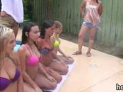 Bunch of girls hosed down and fondling each other outdo