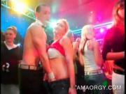 Party hookers blowing strippers cocks at orgy