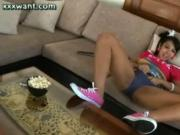 Teen shemale rubbing her dick