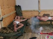 Military dude rides guy's hard penis while sucking othe
