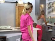 Sexy blonde babe nurse her patient's throbbing hard coc