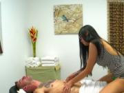 Busty masseuse loves cock