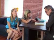 Pretty schoolgirl gets tempted and drilled by her older