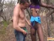Pierced nipples African submissive girlfriend begs cum