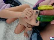 Marica Hase cock feed by Alex Legend stuffing his whole