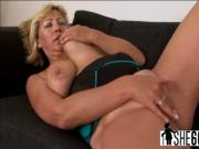 Blonde granny with big swaying tits enjoys while black