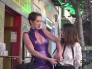 Natural busty slave walked on streets