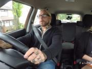 Blonde driving examiner bangs tattooed guy