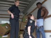 Shaved milf and seduces young Black suspect taken on a