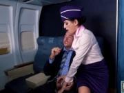 Sexy flight attendant getting fucked hard by a passenge