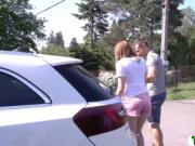 Pantyless Teen Kizzy Sixx gets bang by some strangers c