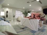 Blonde babe Sunny having a secret sex massage on her co