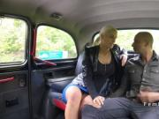 Sexy blonde cab driver fucks black cock