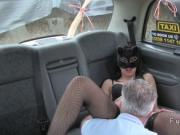 Masked babe fucking in fake taxi