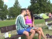 Brunette teen smoking Eveline getting drilled on campin