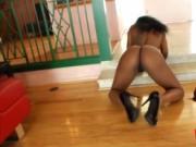 Ebony Spinner Kim Kandy Shows Sexy Booty And Fucks Endo