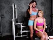 Nina Dolce licks and fingers Zoeys pussy in the gym