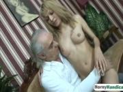 Old handicapped guy seduces young blonde who sucks his