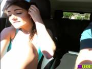 Alluring babe Adria Rae gets a helping hand and bangs d