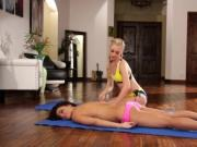 Pretty hot babes Adriana and Lyra have sex after yoga