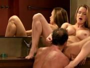 Busty brown haired hottie gets creampie