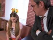 Fervid schoolgirl gets seduced and poked by her elder l