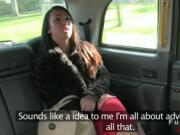 Busty lady fucking in British fake taxi