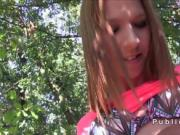 Czech brunette student bangs outdoor pov