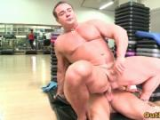 Hot gay dudes suck hard cock and get fucked in gym 4 by