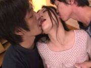 Asian babe's double penetration