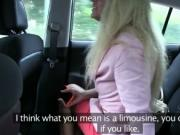 Blonde in red dress banged in fake taxi