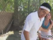Teen deepthroats tennis instructor at court
