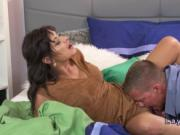 Brunette stepmom sucks and fucks big dick