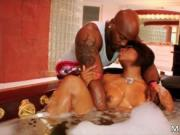 Extreme coon hot babe Imani Rose taking a bath and suck