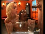 Dirty blonde and black bitches getting pissed all over
