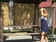 Blonde cutie pissing on a bench in bus station