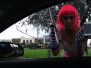 Cosplaying teen Natalie Monroe pounded by stranger dude