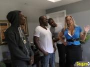 Black stallions hitting a busty MILF really hard