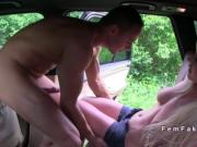 Horny blonde taxi driver bangs big cock outdoor