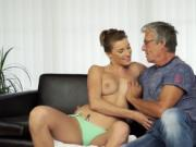 Old man and girl Sex with her boycomrades father afte