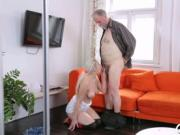 Young active gal blows old knob