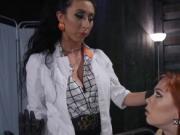 Tattooed female doctor anal fucks lesbo babes