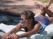 Chocolate princess vanilla cocked by the pool