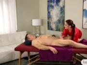 Tight masseuse fucked on massage table