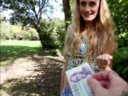 Horny blonde babe Linda fucking a stranger for cash
