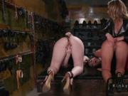 Threesome strap on anal fuck in kink shop