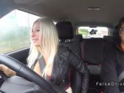 Huge tits blonde in sneakers bangs in car