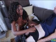 Cute ebony Noemie Bilas gets twat smashed by white dick