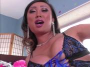 Horny Asian TS Venus Lux pussy fucked blonde chick Mari